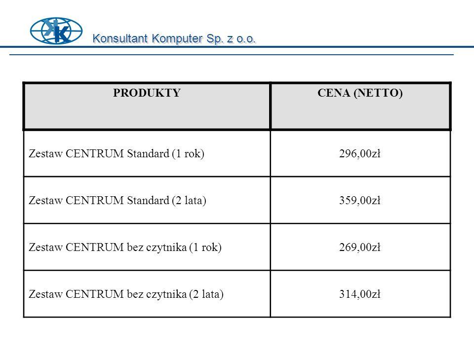 Konsultant Komputer Sp. z o.o. PRODUKTYCENA (NETTO) Zestaw CENTRUM Standard (1 rok)296,00zł Zestaw CENTRUM Standard (2 lata)359,00zł Zestaw CENTRUM be