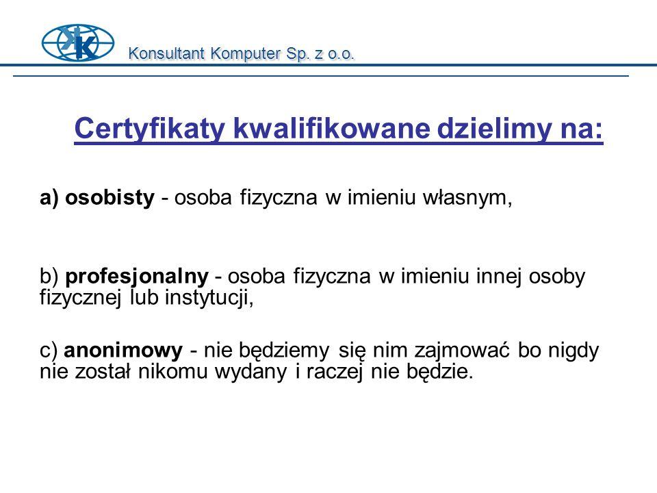 Konsultant Komputer Sp. z o.o. a) osobisty - osoba fizyczna w imieniu własnym, b) profesjonalny - osoba fizyczna w imieniu innej osoby fizycznej lub i