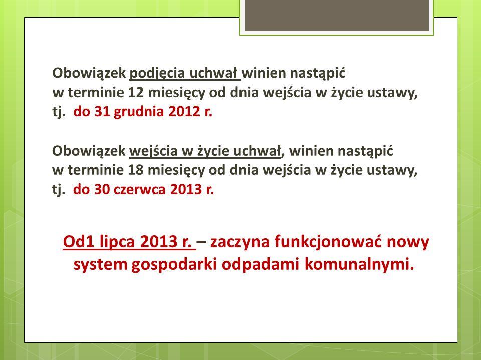 Obowiązek podjęcia uchwał winien nastąpić w terminie 12 miesięcy od dnia wejścia w życie ustawy, tj. do 31 grudnia 2012 r. Obowiązek wejścia w życie u