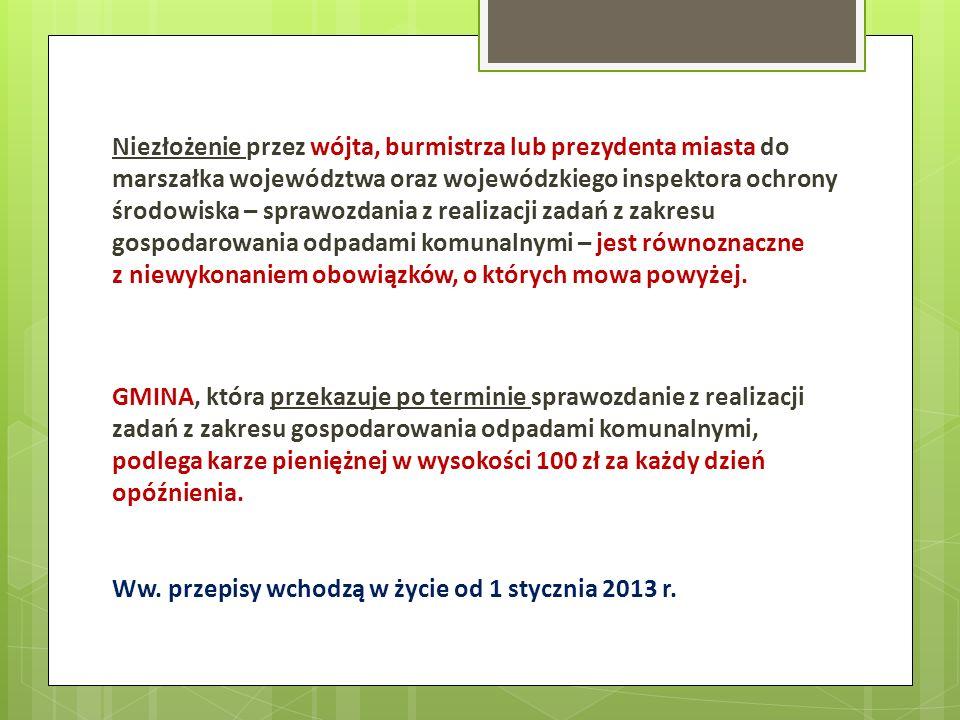 Niezłożenie przez wójta, burmistrza lub prezydenta miasta do marszałka województwa oraz wojewódzkiego inspektora ochrony środowiska – sprawozdania z r