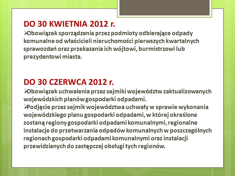 DO 30 KWIETNIA 2012 r. Obowiązek sporządzenia przez podmioty odbierające odpady komunalne od właścicieli nieruchomości pierwszych kwartalnych sprawozd