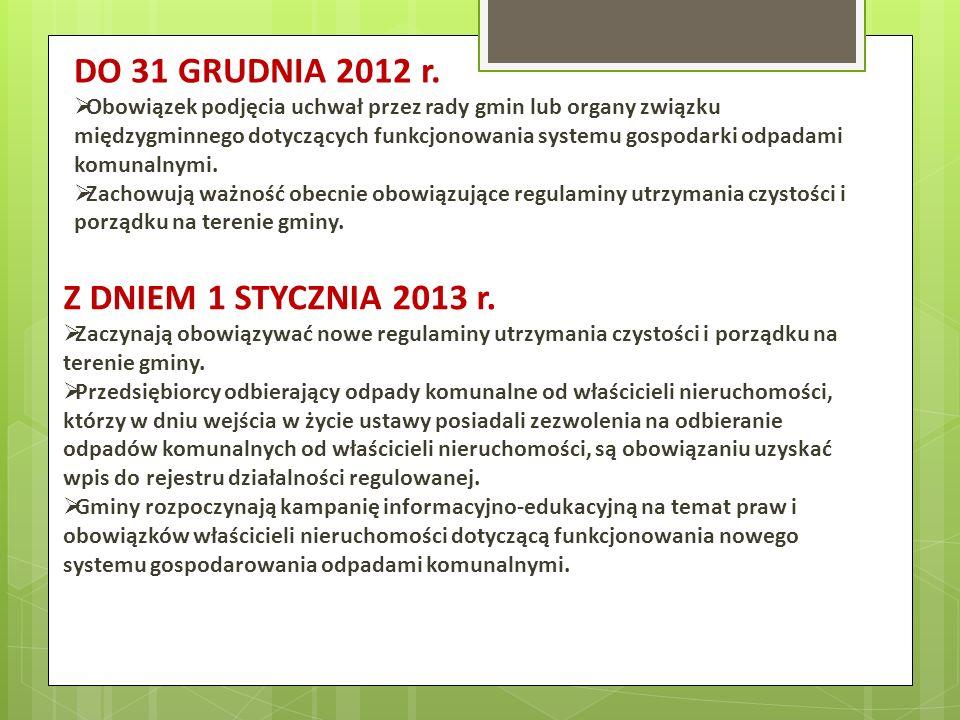 DO 31 GRUDNIA 2012 r. Obowiązek podjęcia uchwał przez rady gmin lub organy związku międzygminnego dotyczących funkcjonowania systemu gospodarki odpada