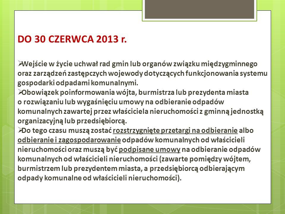 DO 30 CZERWCA 2013 r. Wejście w życie uchwał rad gmin lub organów związku międzygminnego oraz zarządzeń zastępczych wojewody dotyczących funkcjonowani