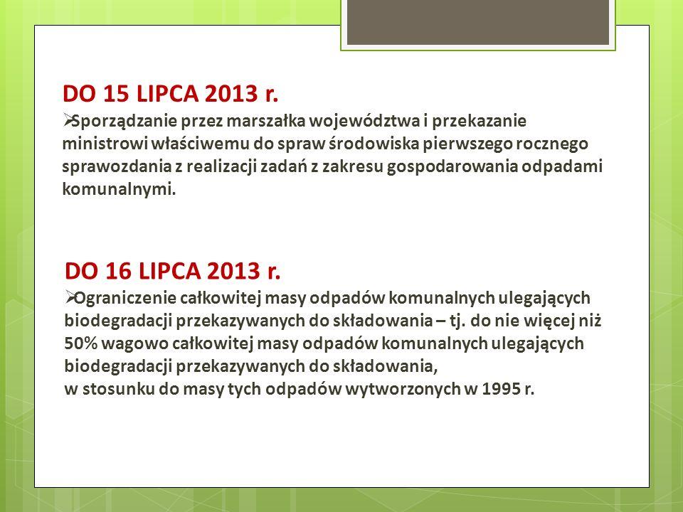 DO 15 LIPCA 2013 r. Sporządzanie przez marszałka województwa i przekazanie ministrowi właściwemu do spraw środowiska pierwszego rocznego sprawozdania