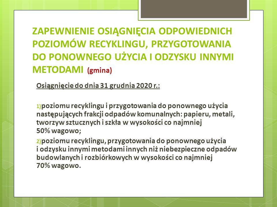 ZAPEWNIENIE OGRANICZENIA MASY ODPADÓW KOMUNALNYCH ULEGAJĄCYCH BIODEGRADACJI PRZEKAZYWANYCH DO SKŁADOWANIA (gmina) Ograniczenie masy odpadów komunalnych ulegających biodegradacji przekazywanych do składowania: 1) do dnia 16 lipca 2013 r.