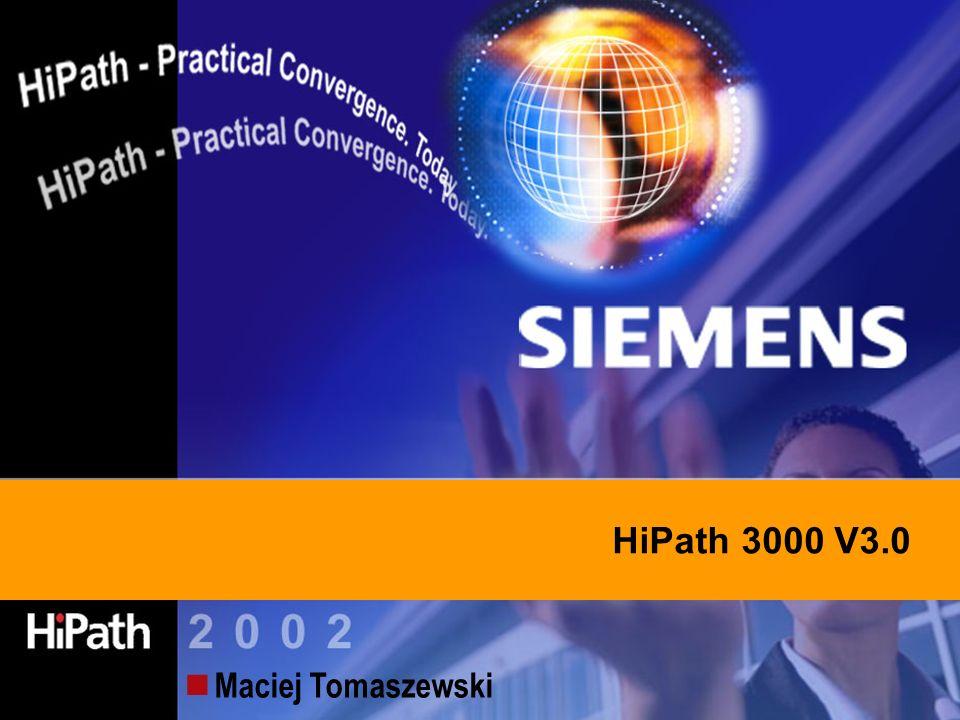 Information and Communication Networks HiPath 300 V 3.0 – Plan prezentacji Oprogramowanie w wersji 3.0 Nowe pojemności systemów Zastosowanie karty HG 1500 z nową funkcjonalnością Aplikacja awizo IP / aplikacje VoIP Taryfikacja i zarządzanie
