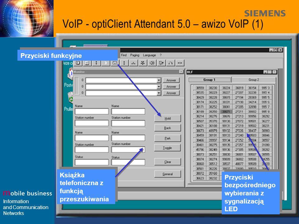 Information and Communication Networks VoIP - optiClient Attendant 5.0 – awizo VoIP (1) Przyciski bezpośredniego wybierania z sygnalizacją LED Książka