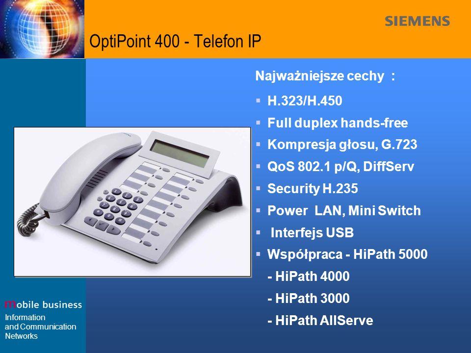Information and Communication Networks OptiPoint 400 - Telefon IP Najważniejsze cechy : H.323/H.450 Full duplex hands-free Kompresja głosu, G.723 QoS