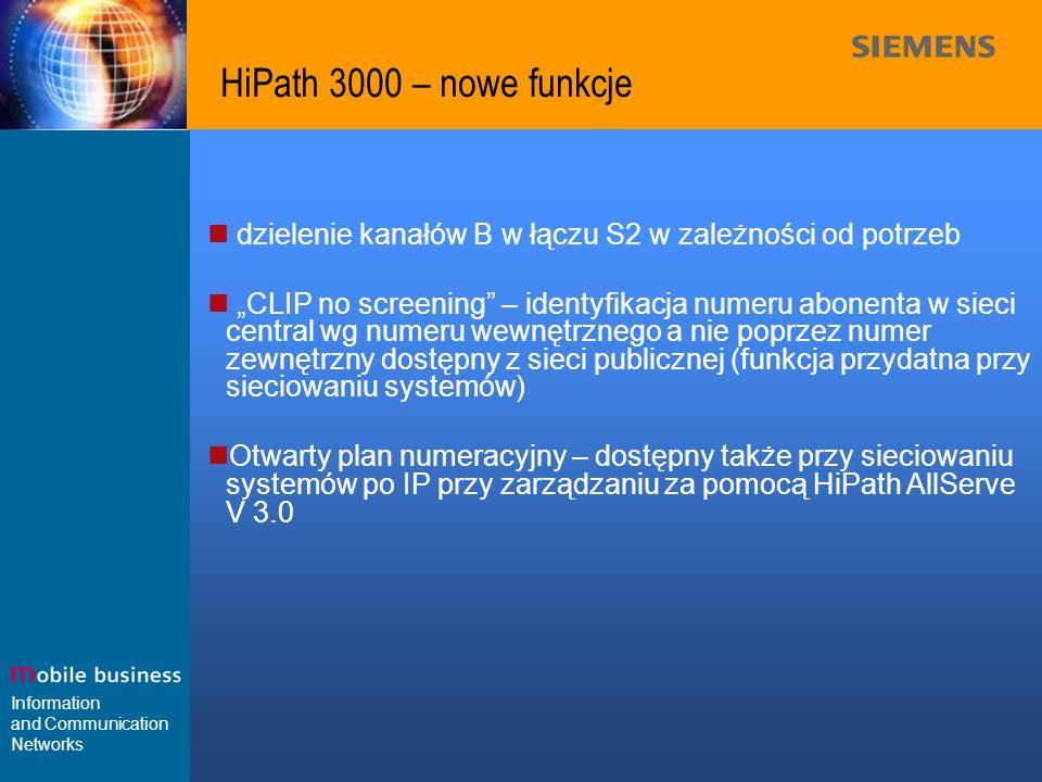 Information and Communication Networks HiPath 3000 – nowe funkcje dzielenie kanałów B w łączu S2 w zależności od potrzeb CLIP no screening – identyfik