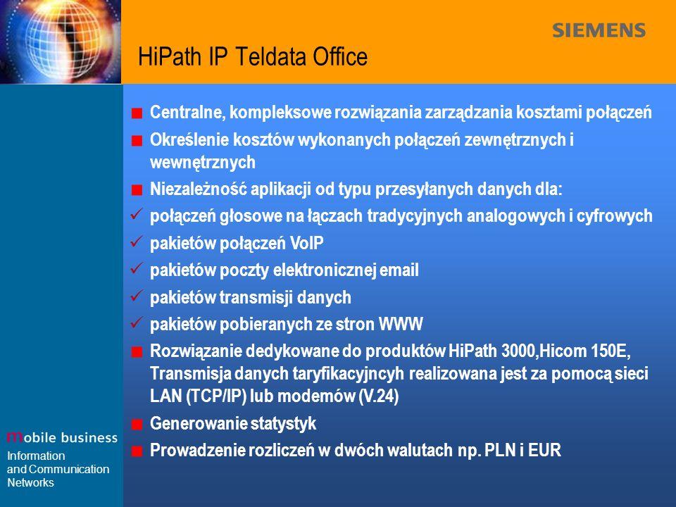 Information and Communication Networks HiPath IP Teldata Office Centralne, kompleksowe rozwiązania zarządzania kosztami połączeń Określenie kosztów wy