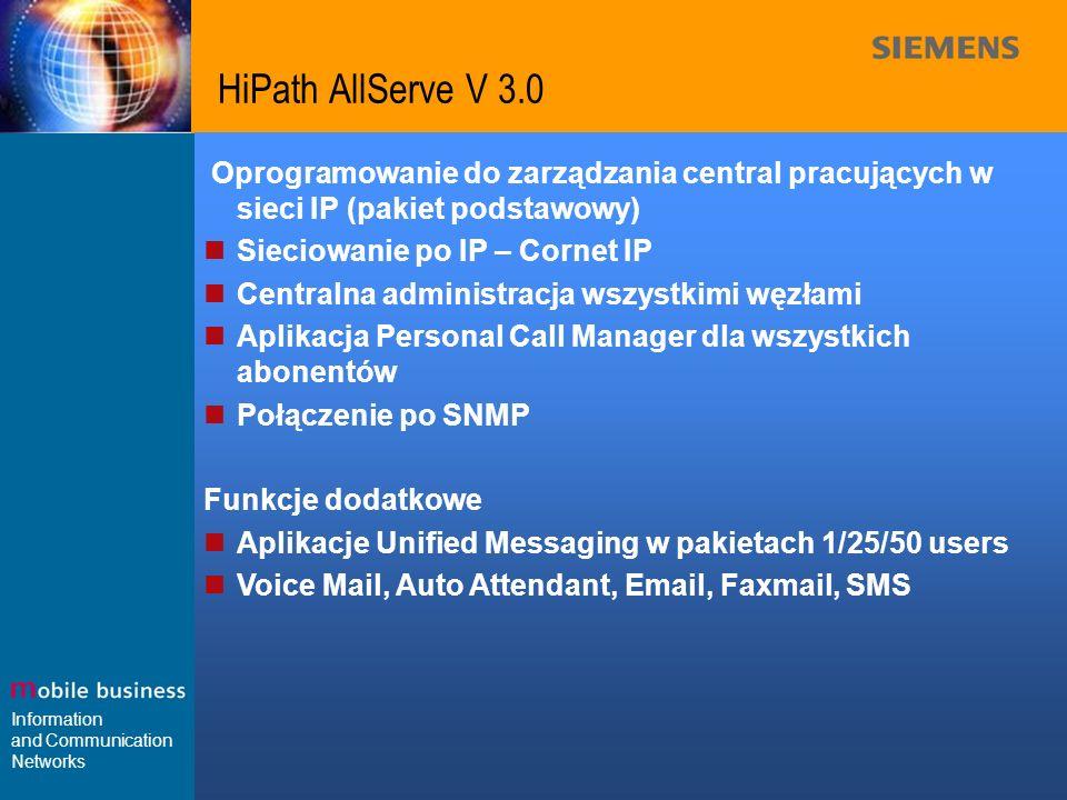 Information and Communication Networks HiPath AllServe V 3.0 Oprogramowanie do zarządzania central pracujących w sieci IP (pakiet podstawowy) Sieciowa