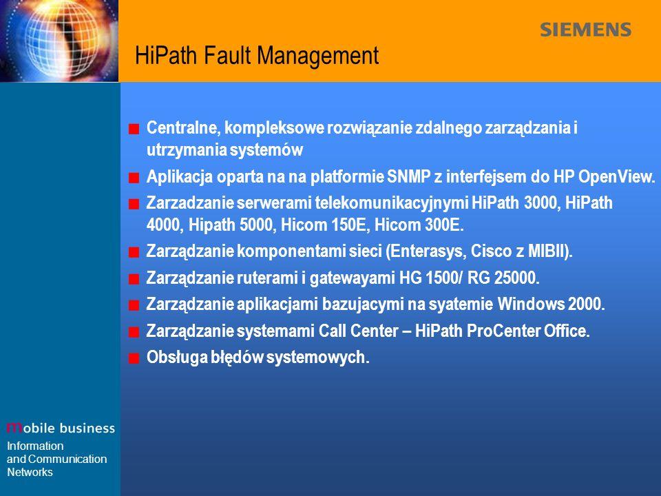 Information and Communication Networks HiPath Fault Management Centralne, kompleksowe rozwiązanie zdalnego zarządzania i utrzymania systemów Aplikacja