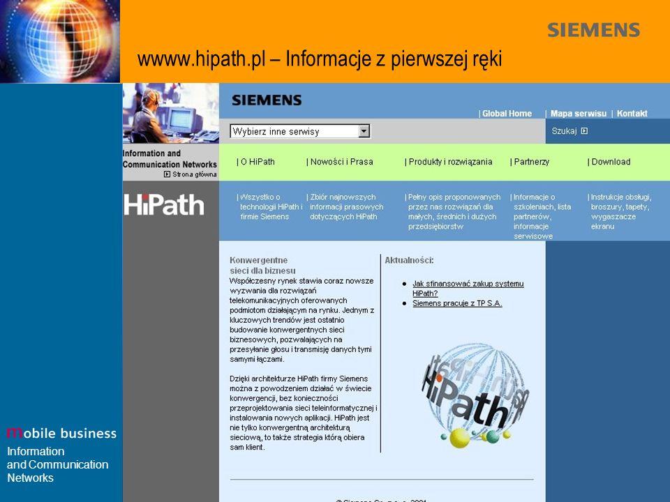 Information and Communication Networks wwww.hipath.pl – Informacje z pierwszej ręki