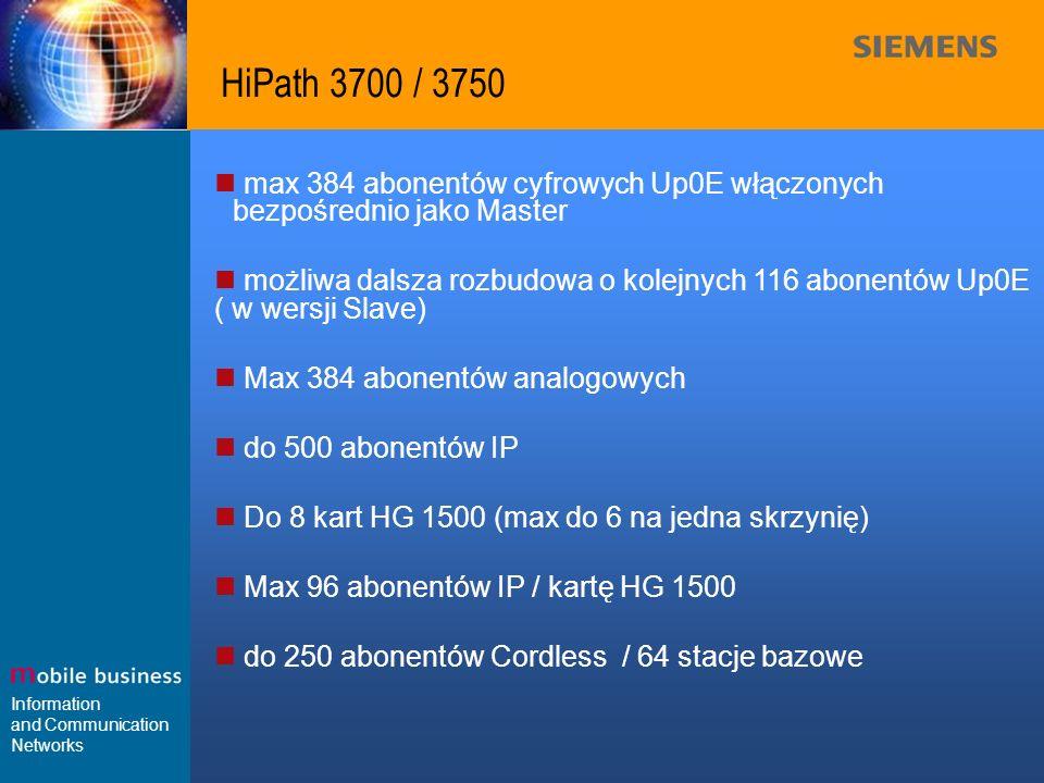 Information and Communication Networks HiPath 3500 max 60 abonentów w tym 56 Up0E / 4 ab, możliwa dalsza rozbudowa o kolejnych 56 abonentów Up0E ( w wersji Slave) max 60 abonentów w tym 52 ab / 8 Up0E, możliwa dalsza rozbudowa o kolejnych 8 abonentów Up0E ( w wersji Slave) do 192 abonentów IP Do 4 kart HG 1500 Max 48 abonentów IP / kartę HG 1500 7 stacji bazowych / 32 abonentów Cordless