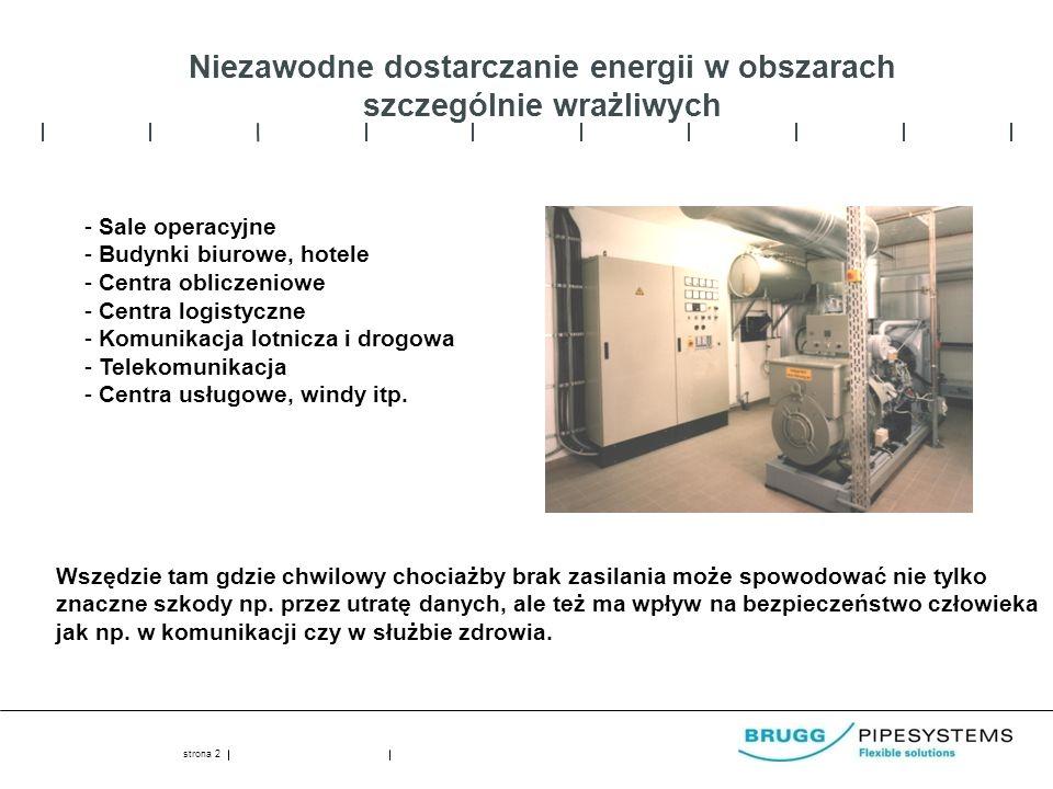 strona 2 Niezawodne dostarczanie energii w obszarach szczególnie wrażliwych - Sale operacyjne - Budynki biurowe, hotele - Centra obliczeniowe - Centra logistyczne - Komunikacja lotnicza i drogowa - Telekomunikacja - Centra usługowe, windy itp.