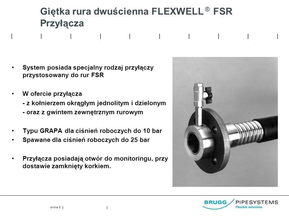 Giętka rura dwuścienna FLEXWELL ® FSR Przyłącza System posiada specjalny rodzaj przyłączy przystosowany do rur FSR W ofercie przyłącza - z kołnierzem okrągłym jednolitym i dzielonym - oraz z gwintem zewnętrznym rurowym Typu GRAPA dla ciśnień roboczych do 10 bar Spawane dla ciśnień roboczych do 25 bar Przyłącza posiadają otwór do monitoringu, przy dostawie zamknięty korkiem.