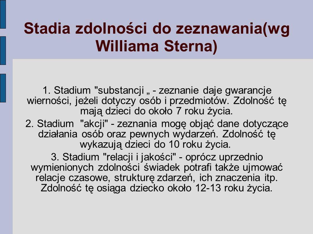 Stadia zdolności do zeznawania(wg Williama Sterna) 1. Stadium