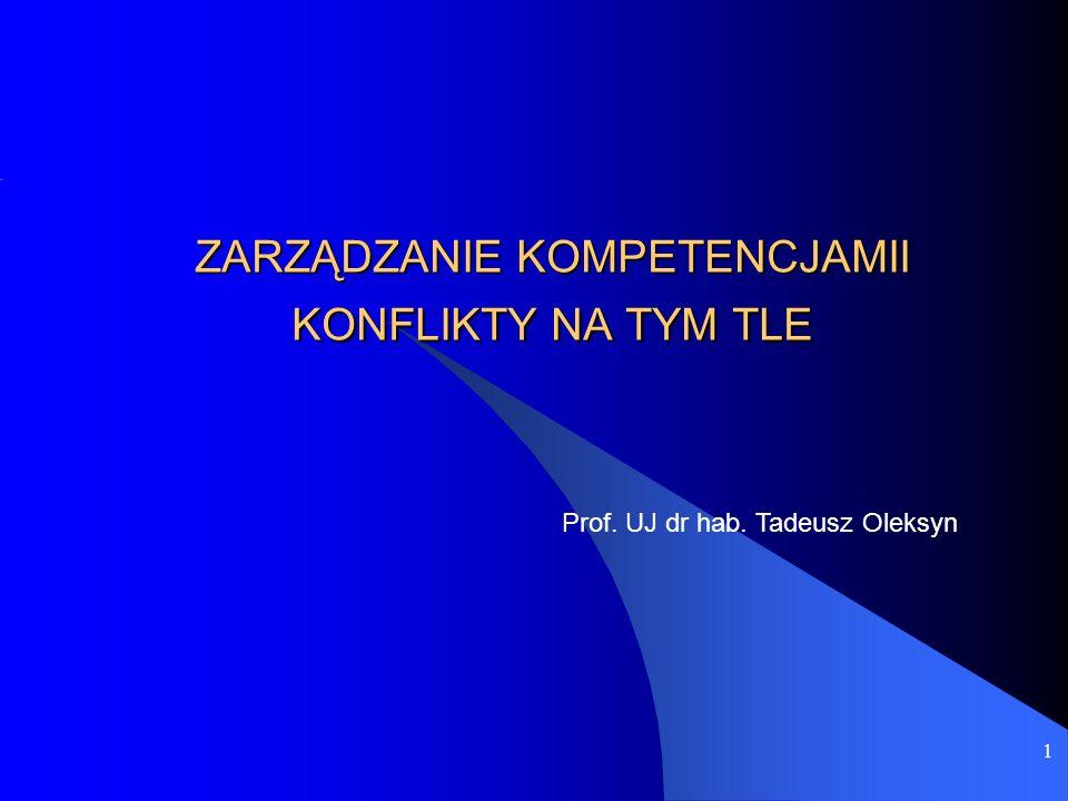1 ZARZĄDZANIE KOMPETENCJAMII KONFLIKTY NA TYM TLE Prof. UJ dr hab. Tadeusz Oleksyn
