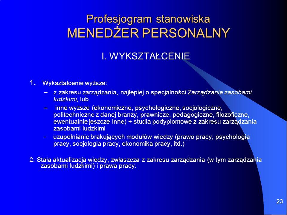 23 Profesjogram stanowiska MENEDŻER PERSONALNY I. WYKSZTAŁCENIE 1. Wykształcenie wyższe: –z zakresu zarządzania, najlepiej o specjalności Zarządzanie