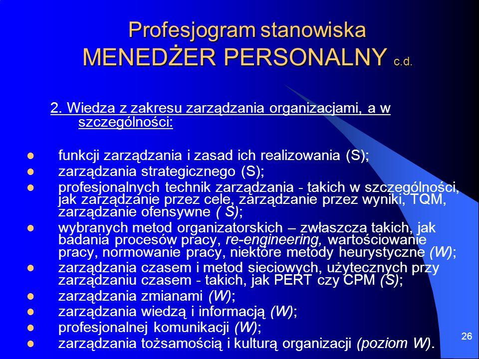 26 Profesjogram stanowiska MENEDŻER PERSONALNY c.d. 2. Wiedza z zakresu zarządzania organizacjami, a w szczególności: funkcji zarządzania i zasad ich