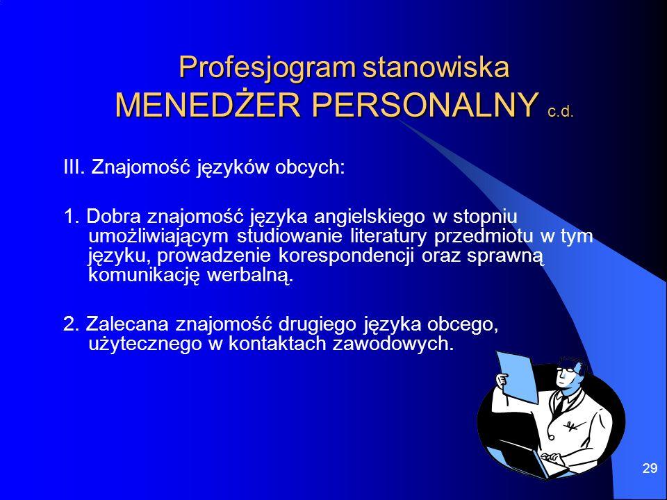 29 Profesjogram stanowiska MENEDŻER PERSONALNY c.d. III. Znajomość języków obcych: 1. Dobra znajomość języka angielskiego w stopniu umożliwiającym stu