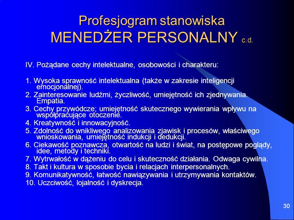 30 Profesjogram stanowiska MENEDŻER PERSONALNY c.d. IV. Pożądane cechy intelektualne, osobowości i charakteru: 1. Wysoka sprawność intelektualna (takż