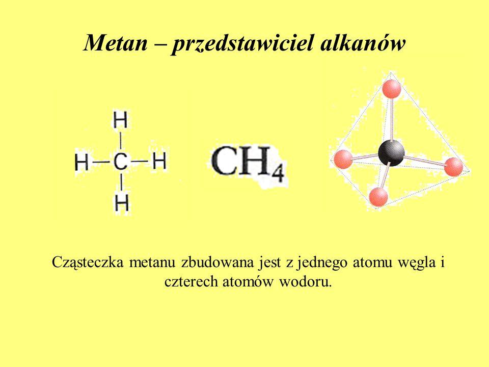 Metan – przedstawiciel alkanów Cząsteczka metanu zbudowana jest z jednego atomu węgla i czterech atomów wodoru.