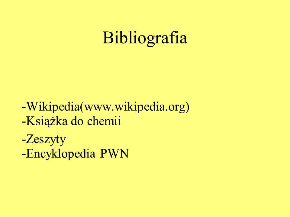 Bibliografia -Wikipedia(www.wikipedia.org) -Książka do chemii -Zeszyty -Encyklopedia PWN