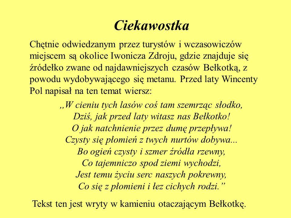 Ciekawostka Chętnie odwiedzanym przez turystów i wczasowiczów miejscem są okolice Iwonicza Zdroju, gdzie znajduje się źródełko zwane od najdawniejszyc