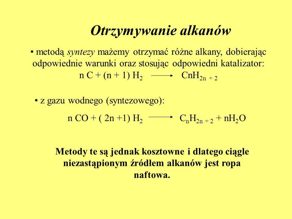 Otrzymywanie alkanów metodą syntezy mażemy otrzymać różne alkany, dobierając odpowiednie warunki oraz stosując odpowiedni katalizator: n C + (n + 1) H