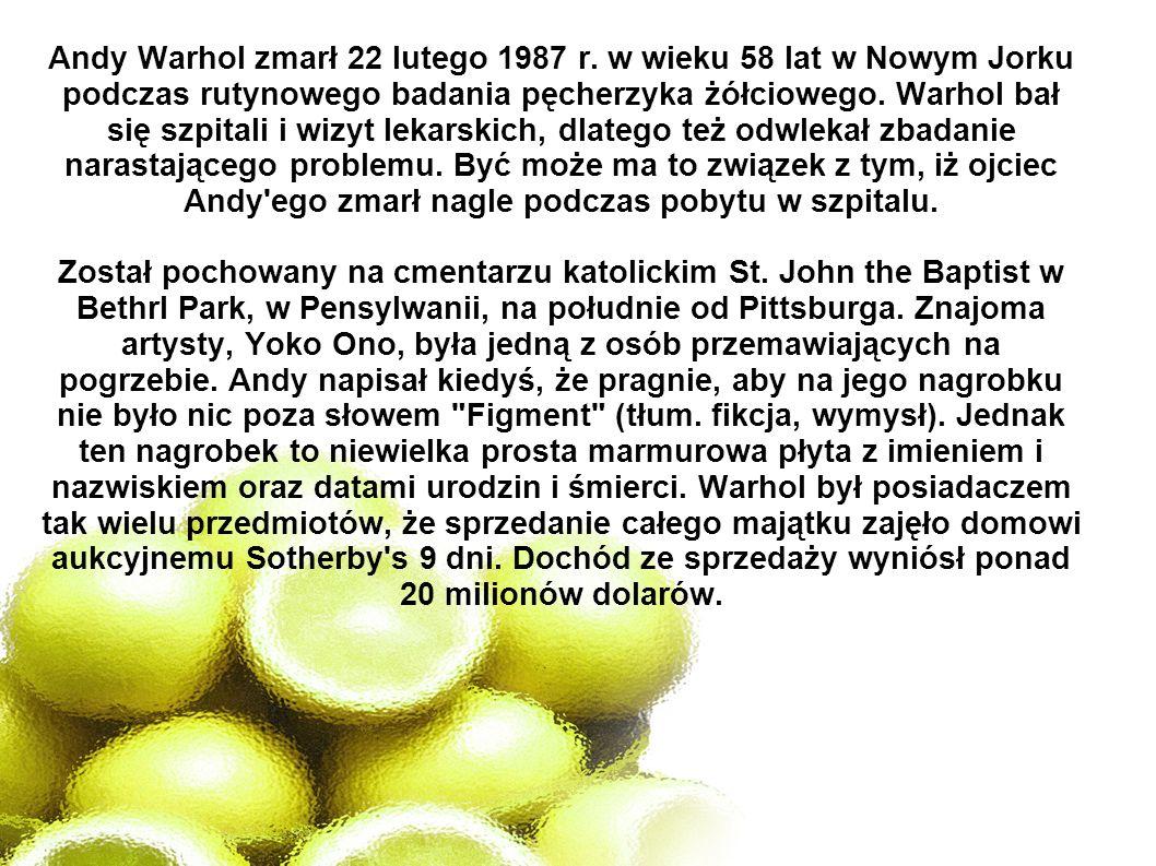 Andy Warhol zmarł 22 lutego 1987 r. w wieku 58 lat w Nowym Jorku podczas rutynowego badania pęcherzyka żółciowego. Warhol bał się szpitali i wizyt lek