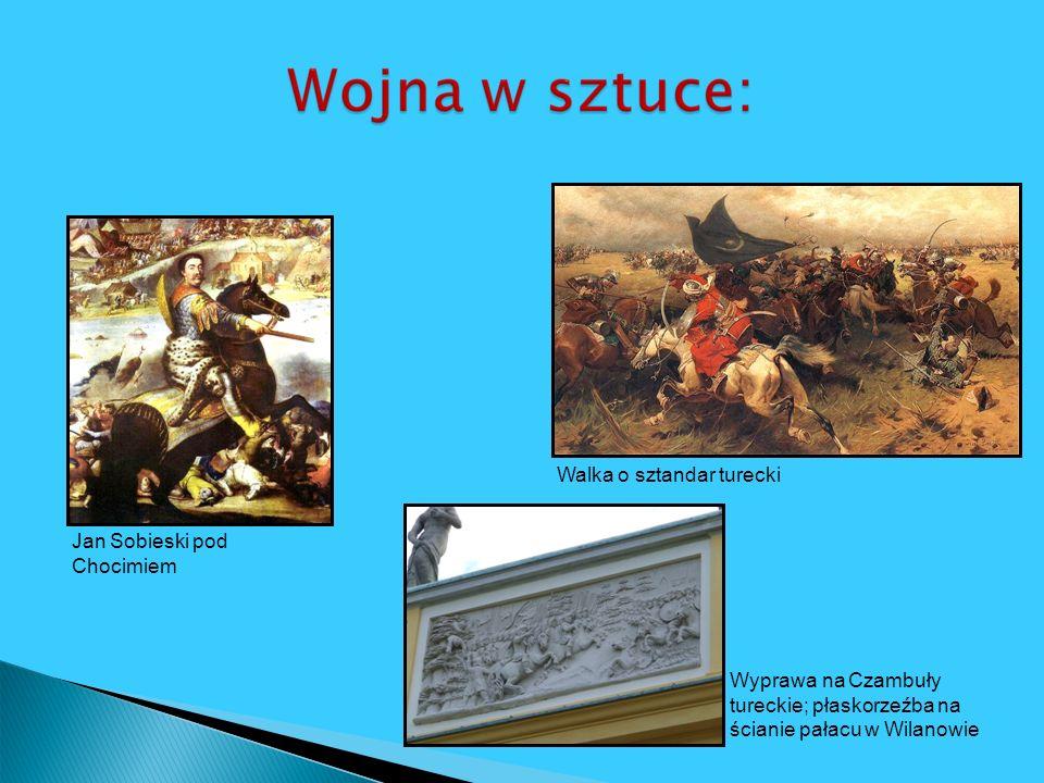 Jan Sobieski pod Chocimiem Wyprawa na Czambuły tureckie; płaskorzeźba na ścianie pałacu w Wilanowie Walka o sztandar turecki