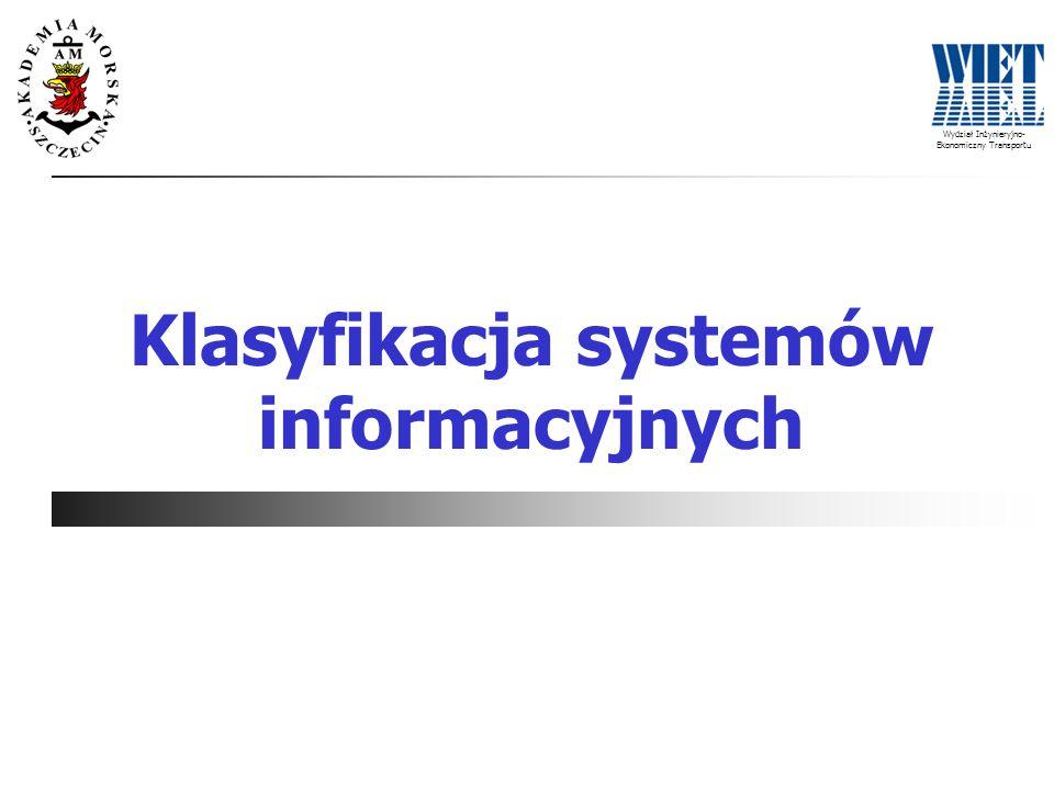 Wydział Inżynieryjno- Ekonomiczny Transportu Klasyfikacja systemów informacyjnych