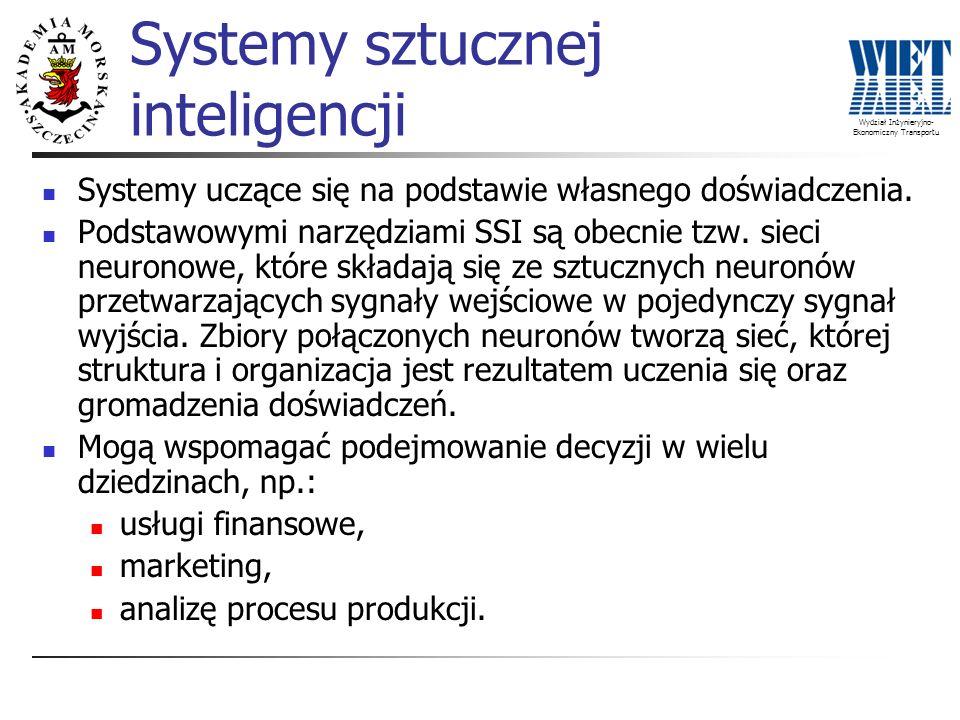 Wydział Inżynieryjno- Ekonomiczny Transportu Systemy uczące się na podstawie własnego doświadczenia. Podstawowymi narzędziami SSI są obecnie tzw. siec