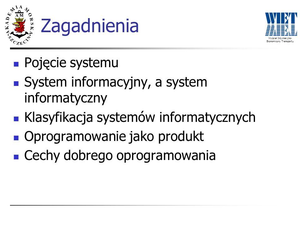 Wydział Inżynieryjno- Ekonomiczny Transportu Zagadnienia Pojęcie systemu System informacyjny, a system informatyczny Klasyfikacja systemów informatycz