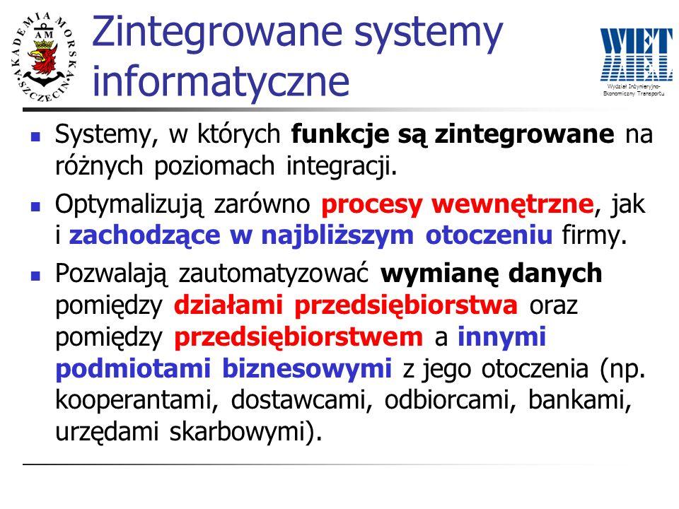 Wydział Inżynieryjno- Ekonomiczny Transportu Systemy, w których funkcje są zintegrowane na różnych poziomach integracji. Optymalizują zarówno procesy
