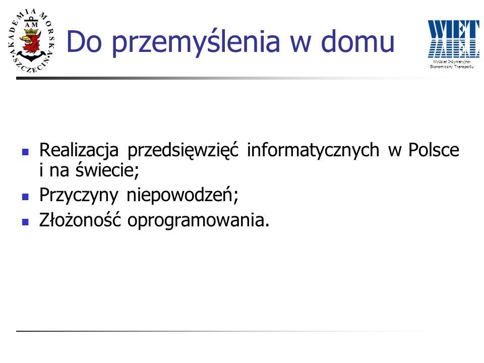 Wydział Inżynieryjno- Ekonomiczny Transportu Do przemyślenia w domu Realizacja przedsięwzięć informatycznych w Polsce i na świecie; Przyczyny niepowod