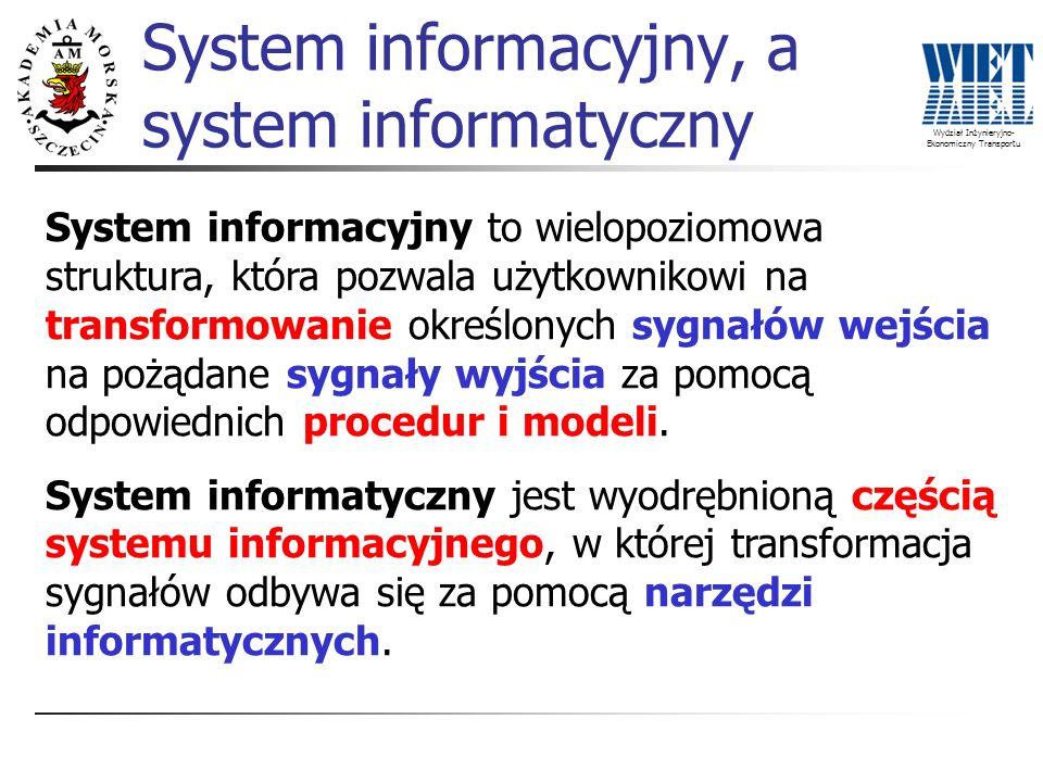 Wydział Inżynieryjno- Ekonomiczny Transportu System informacyjny, a system informatyczny System informacyjny to wielopoziomowa struktura, która pozwal
