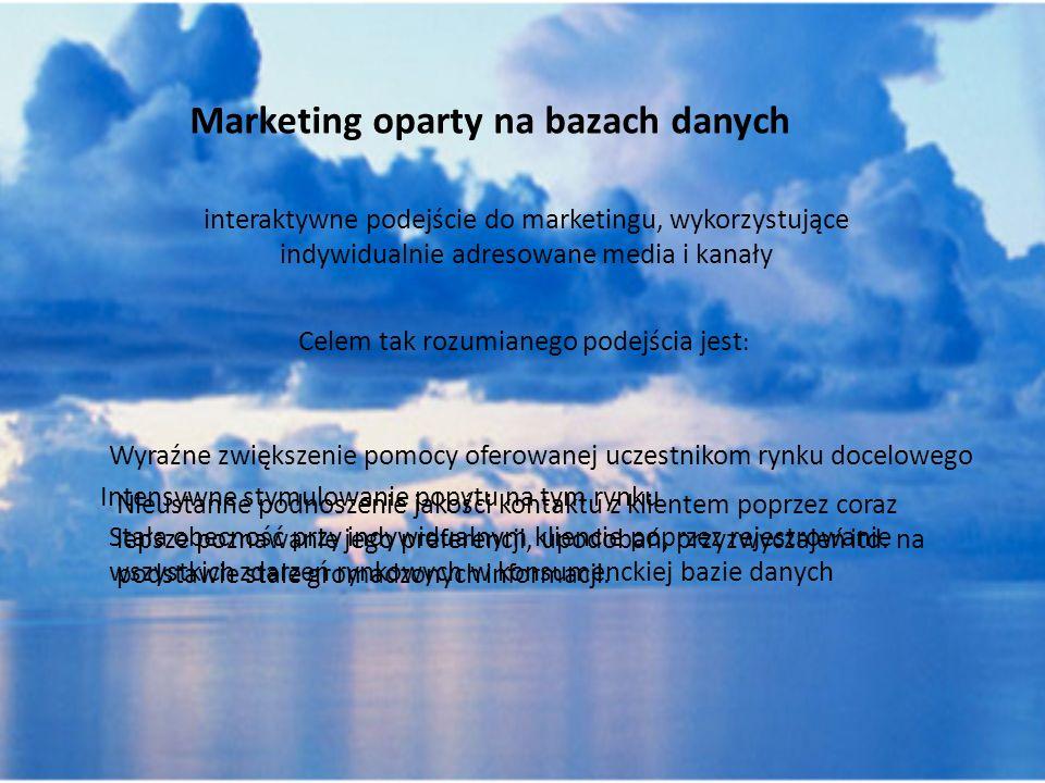 Marketing oparty na bazach danych interaktywne podejście do marketingu, wykorzystujące indywidualnie adresowane media i kanały Celem tak rozumianego p