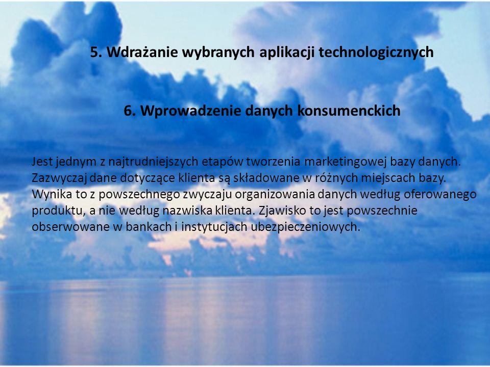 5. Wdrażanie wybranych aplikacji technologicznych 6. Wprowadzenie danych konsumenckich Jest jednym z najtrudniejszych etapów tworzenia marketingowej b