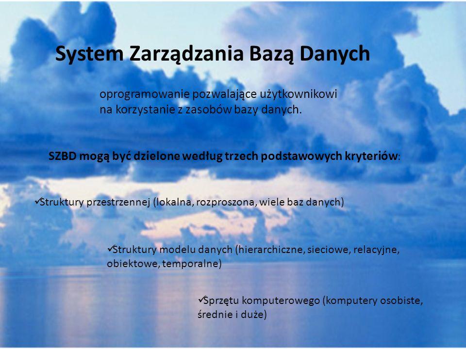 System Zarządzania Bazą Danych Struktury przestrzennej (lokalna, rozproszona, wiele baz danych) Struktury modelu danych (hierarchiczne, sieciowe, rela