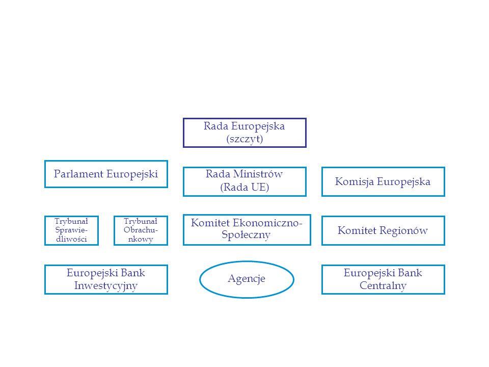 Parlament Europejski Trybunał Sprawie- dliwości Trybunał Obrachu- nkowy Komitet Ekonomiczno- Społeczny Komitet Regionów Rada Ministrów (Rada UE) Komis
