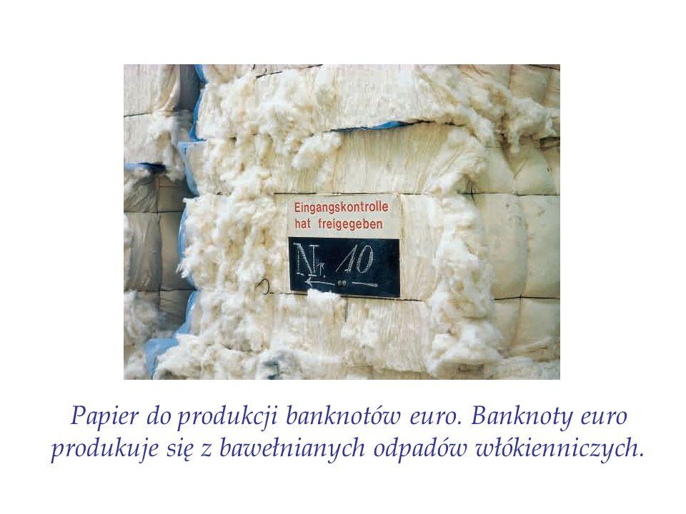 Papier do produkcji banknotów euro. Banknoty euro produkuje się z bawełnianych odpadów włókienniczych.