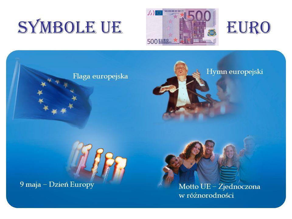 Symbole UE Euro Flaga europejska Hymn europejski 9 maja Dzień Europy Motto UE Zjednoczona w różnorodności