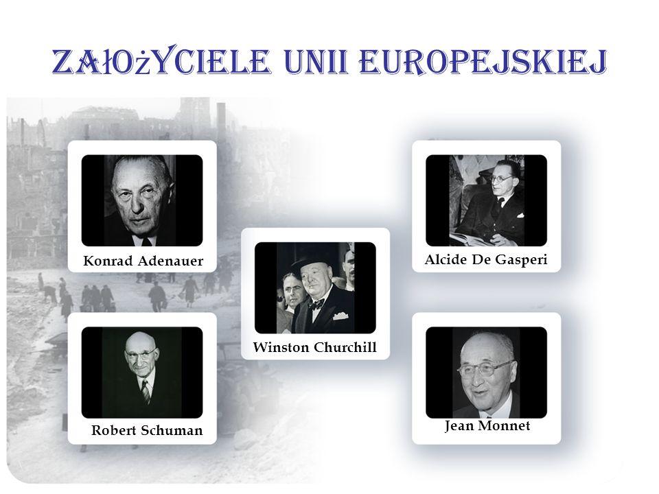 Za ł o ż yciele Unii Europejskiej Konrad Adenauer Winston Churchill Alcide De Gasperi Robert Schuman Jean Monnet