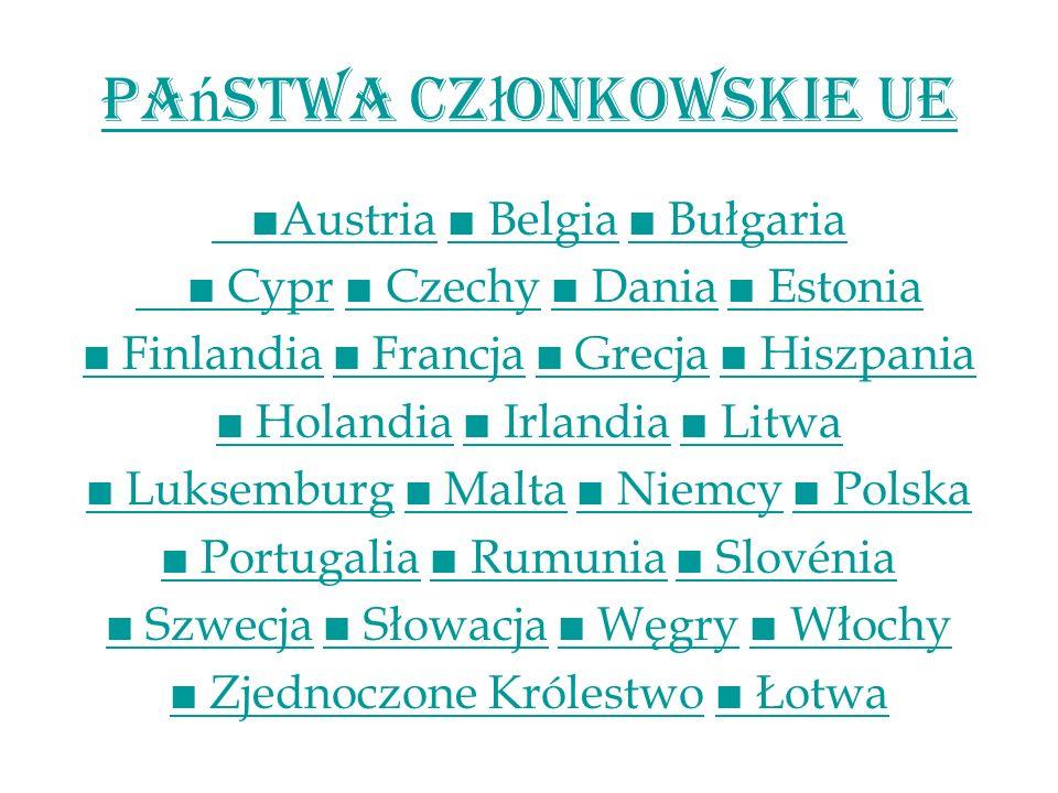 Pa ń stwa Cz ł onkowskie UE AustriaAustria Belgia Bułgaria Belgia Bułgaria Cypr Cypr Czechy Dania Estonia Czechy Dania Estonia Finlandia Finlandia Fra