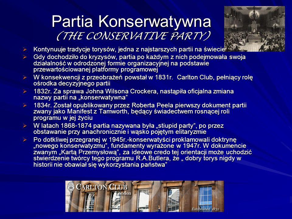 Partia Konserwatywna (THE CONSERVATIVE PARTY) Kontynuuje tradycje torysów, jedna z najstarszych partii na świecie Kontynuuje tradycje torysów, jedna z