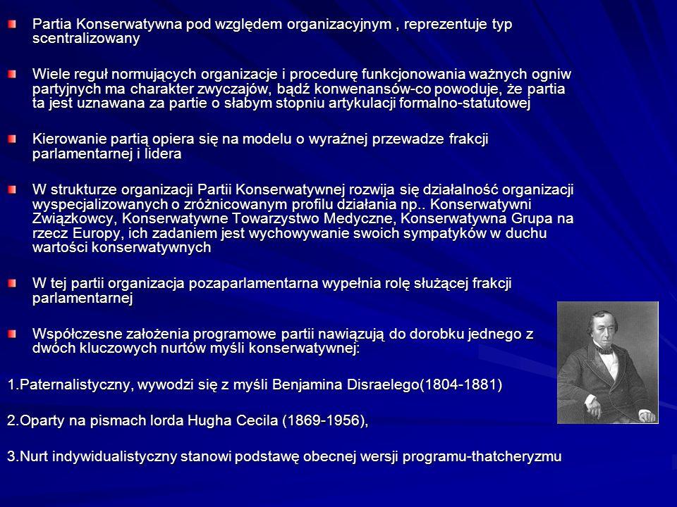 Partia Konserwatywna pod względem organizacyjnym, reprezentuje typ scentralizowany Wiele reguł normujących organizacje i procedurę funkcjonowania ważn