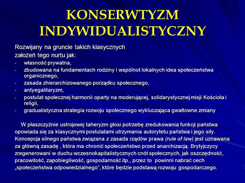 KONSERWTYZM INDYWIDUALISTYCZNY Rozwijany na gruncie takich klasycznych założeń tego nurtu jak: - własność prywatna, - zbudowana na fundamentach rodzin