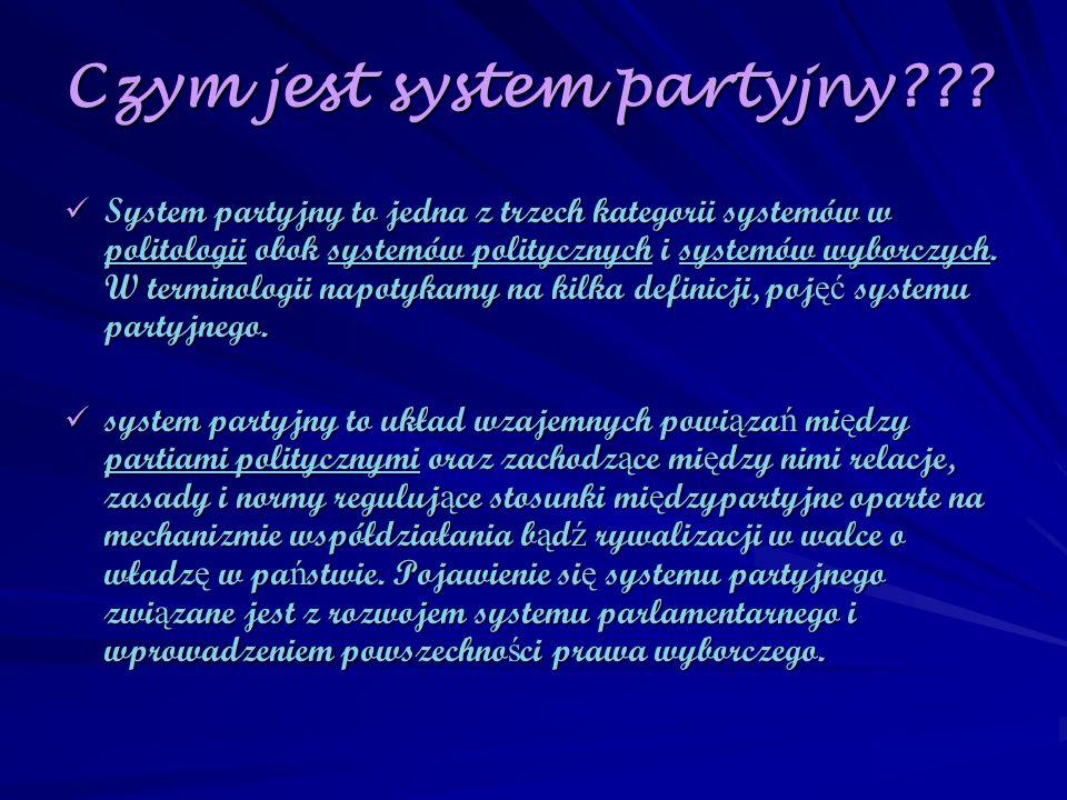 Czym jest system partyjny??? System partyjny to jedna z trzech kategorii systemów w politologii obok systemów politycznych i systemów wyborczych. W te